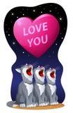 Liefde u De kaart van de valentijnskaartendag met een groot hart en mauwende katten Royalty-vrije Stock Foto's