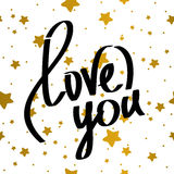 Liefde u die van letters voorzien Royalty-vrije Stock Foto's