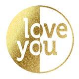 Liefde u in gouden Royalty-vrije Stock Afbeeldingen