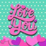 Liefde u Het van letters voorzien uitdrukking op kleurrijke achtergrond met document harten Het thema van de valentijnskaartendag Stock Fotografie