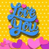 Liefde u Het van letters voorzien uitdrukking op kleurrijke achtergrond met document harten Het thema van de valentijnskaartendag Stock Foto