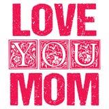 Liefde u Mamma Typografisch ontwerp voor giftkaarten, affiches, etiketten, markeringen, t-shirtdruk stock illustratie