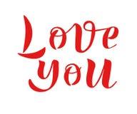 Liefde u met de hand geschreven tekst Eenvoudig stijl vectorteken Inkthand het van letters voorzien Royalty-vrije Stock Foto