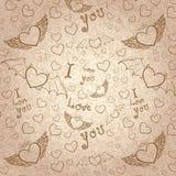 Liefde u naadloze sepia op papier Stock Foto
