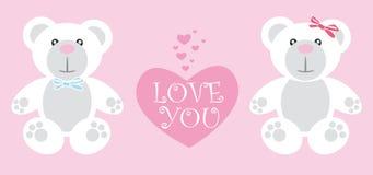 Liefde u Teddy, de dag van de Valentijnskaart Royalty-vrije Stock Afbeelding