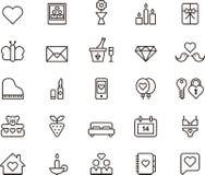 Liefde, valentijnskaart en huwelijkspictogrammen Stock Afbeelding