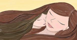 Liefde van een moeder en een dochter die slaap samen - overhandig pa Stock Afbeelding