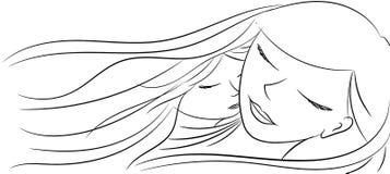Liefde van een moeder en een dochter die slaap samen - overhandig pa Royalty-vrije Stock Afbeelding