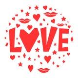 Liefde Van het de dagthema van gelukkig Valentine de kaartmalplaatje Stock Foto
