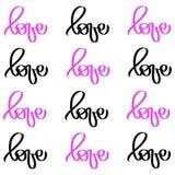 Liefde van het kalligrafie de zwarte roze woord Het vectorvalentijnskaartendag Hand Getrokken van letters voorzien De kaart van d royalty-vrije illustratie