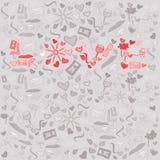 Liefde vectordieprentbriefkaar in krabbelstijl wordt gemaakt vector illustratie