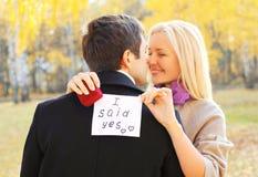 Liefde, verhoudingen, overeenkomst en huwelijksconcept - de man stelt een vrouw voor om te huwen, rode doosring, gelukkig glimlac stock foto's