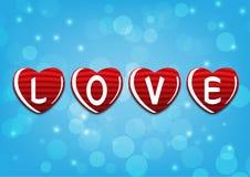 Liefde voor de viering van het valentijnskaartenhuwelijk op blauwe achtergrond Stock Foto's