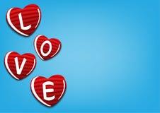 Liefde voor de viering van het valentijnskaartenhuwelijk op blauwe vectorillustratie als achtergrond Stock Afbeeldingen
