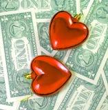 Liefde voor geldconcept Liefde op de berekening royalty-vrije stock foto