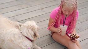Liefde voor huisdieren - het mooie maniermeisje met Afrikaanse vlechten eet op de straat met haar hond stock videobeelden