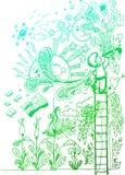 Liefde voor tekening, schetsmatige krabbels Stock Fotografie