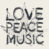 Liefde - vrede - muziek Royalty-vrije Stock Afbeelding