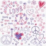 Liefde, Vredes & Muziek Schetsmatige Notitieboekjekrabbels stock illustratie