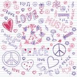 Liefde, Vredes & Muziek Schetsmatige Notitieboekjekrabbels Stock Fotografie