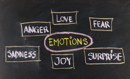 Liefde, vrees, vreugde, woede, verrassing en droefheid stock foto