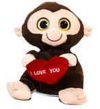 Liefde Zacht Toy Baby Monkey op Witte Achtergrond Stock Foto