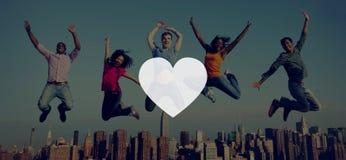 Liefde zoals Toewijding Joy Life Concept van de Hartstochts de Romantische Affectie Stock Foto