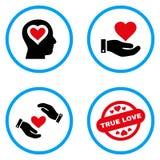 Liefdeaanbieding Rond gemaakte Vectorpictogrammen Stock Afbeelding