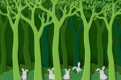 Liefdeaard met witte konijnen de troep in groen bos, document kunststijl voor Pasen-vakantie, uitnodiging, groetkaart of affiche royalty-vrije illustratie