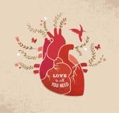 Liefdeachtergrond met hart en bloemen, Valentijnskaarten Stock Foto's