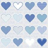 Liefdeachtergrond met hartkaders op blauw, patroon voor babyjongen Stock Afbeelding