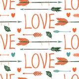 Liefdeachtergrond met pijlen Stock Foto's