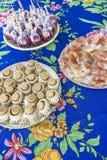 Liefdeappel, pacoca en bataatsuikergoed stock afbeelding