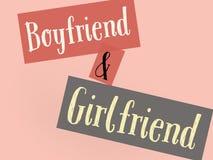 Liefdebehang van meisje en vriend in kleurrijke muur vector illustratie