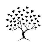Liefdeboom met bladeren van harten Abstracte boom voor huwelijk of valentijnskaartontwerp Vector illustratie Stock Afbeelding