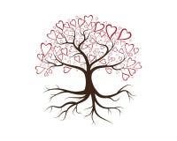 Liefdeboom met de vector van hartbladeren vector illustratie
