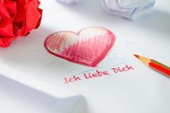 Liefdebrief - Ich liebe Dich Stock Foto