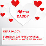 Liefdecitaat - op een dag kan ik mijn prins vinden, maar u zult altijd mijn koning zijn Royalty-vrije Stock Fotografie