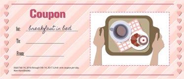 Liefdecoupon voor ontbijt in bed Stock Fotografie