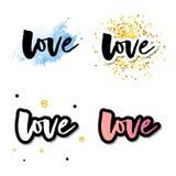 Liefdeembleem de vector het van letters voorzien reeks van de slogankalligrafie stock illustratie