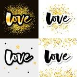 Liefdeembleem de vector het van letters voorzien reeks van de slogankalligrafie royalty-vrije illustratie