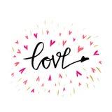 Liefdehand getrokken illustratie met hand-van letters voorziet Hand getrokken ontwerpelementen Kan als groetkaart voor Valentine  Royalty-vrije Stock Foto's
