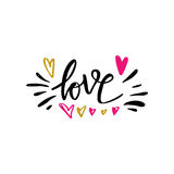 Liefdehand getrokken illustratie met hand-van letters voorziet Hand getrokken ontwerpelementen Kan als groetkaart voor Valentine  Stock Afbeeldingen