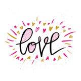 Liefdehand getrokken illustratie met hand-van letters voorziet Hand getrokken ontwerpelementen Kan als groetkaart voor Valentine  Royalty-vrije Stock Afbeelding