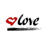 Liefdehand het van letters voorzien vector met hart Royalty-vrije Stock Afbeelding