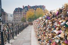 Liefdehangsloten op Pont Neuf over de Zegenrivier, Parijs, Frankrijk stock afbeeldingen