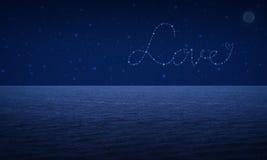 Liefdehart van mooie heldere sterren op fantasiehemel Royalty-vrije Stock Foto's