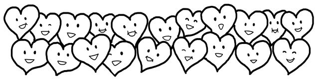 Liefdeharten Valentine Black White Outline Drawing Stock Afbeeldingen