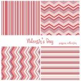Liefdeinzameling van vier naadloze patronen voor St Valentijnskaartendag Kleurrijke die harten in vector worden gemaakt Stock Afbeelding