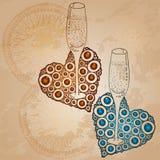 Liefdekaart met champagne en harten, vector Stock Fotografie